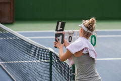 Updating the tennis score Royalty Free Stock Photography
