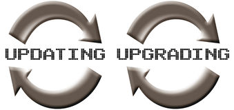 Updating Upgrading. Two icons for software update or upgrade Stock Photo