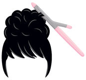Updo with Curling Iron. An updo or bouffant is styled with a curling iron (tongs Royalty Free Stock Photo