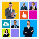 Upgrade business with help of technology. Business collage over colorful windows phone theme Royalty Free Stock Photo