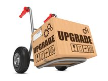 Upgrade - Cardboard Box on Hand Truck. Stock Photography