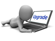 Upgrade Character Laptop Means Improving Upgrading Or Updating Stock Images