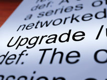 Upgrade Definition Closeup Showing Software Update. Upgrade Definition Closeup Shows Software Update Or Installation Fix Royalty Free Stock Images