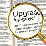 Upgrade Definition Magnifier Showing Software Update Or Installa. Upgrade Definition Magnifier Shows Software Update Or Installation Fix Royalty Free Stock Photo