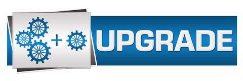 Upgrade With Gears Blue Grey Horizontal Stock Images