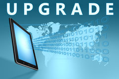 Upgrade. Illustration with tablet computer on blue background Royalty Free Stock Image