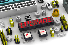UPGRADE. The message on the display electronic circuit board Stock Photo