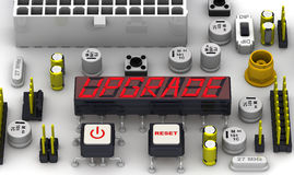 UPGRADE. The message on the display electronic circuit board Royalty Free Stock Photography