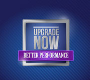 Upgrade now blue shield illustration design Stock Photography