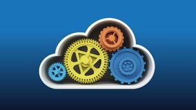 Upgrade and repair Cloud IT solution service animation vector illustration