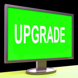 Upgrade Screen Means Improve Upgraded Or Update Stock Photo