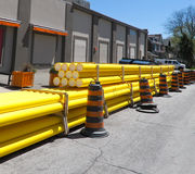 Upgrade to municipal utility. Yellow PVC piping for utility upgrade Stock Images