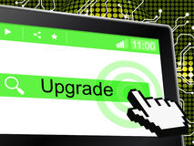 Upgrade Update Indicates Upgraded Updates And Improve. Upgrade Update Representing Better Improves And Renovate Royalty Free Stock Photography