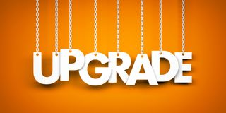 Upgrade - word hanging on chains Stock Photo