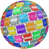 Upgrade Word Tiles Advanced Updated Improvement Upsell Stock Photo