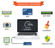 Upgrade your laptop with new components vector illustration