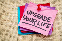Upgrade your life advice note Stock Images