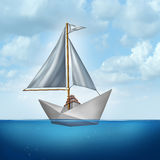Upgrade Your Skills. Concept and improve abilities symbol as a boat sail tied to a paper boat as an upgrading and advancement metaphor for strategic innovation vector illustration