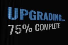 Upgrading 75% complete word on dark screen. Tv effect vector illustration