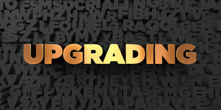 Upgrading - Gold text on black background - 3D rendered royalty free stock picture Stock Image