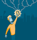 Upgrading a powerful cell phone or Speed downloading. Man holding a cell phone struck by lightning Stock Photos