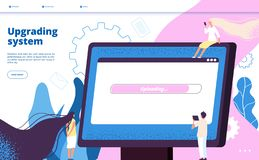 Upgrading system. Upgrade systems website update computer laptop software pc maintenance vector landing page with tiny. Guy. Illustration of upgrade program royalty free illustration