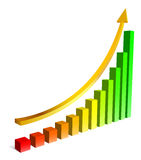 Upgrowing 3D graph Royalty Free Stock Photography