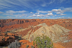 Upheaval Dome Canyonlands. Salt dome stands out against orange canyon formations royalty free stock photos