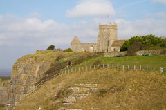 Uphill Church Somerset England. The Norman Old Church of St Nicholas at Uphill, Somerset, England dates from around 1080, It stands on a cliff top overlooking Royalty Free Stock Photos