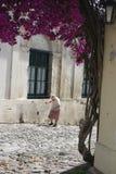 Uphill Climb. Elderly lady climbing cobbled street in Colonia, Uruguay royalty free stock photography