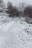 Uphill Footpath in Snow Stock Image