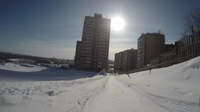 Uphill riding in winter gopro view stock footage