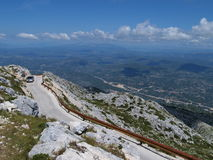Uphill road. In mountain Biokovo in Croatia stock images