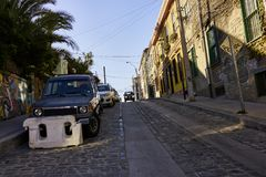Uphill Street in Valparaiso With Buildings and Architecture Stock Photography
