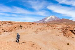 An uphill view of the volcano in National Park of Bolivian Altiplano, Uyuni. Stock photo Stock Images