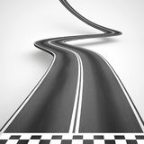 Uphill and winding road from start to finish. 3D Rendering Stock Photo