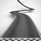 Uphill and winding road from start to finish. 3D Rendering. Winding road on white background rise up to reach the targets. 3D Rendering royalty free illustration