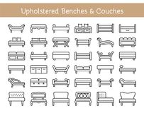 Free Upholstered Benches & Couches. Vector Icon Collection Royalty Free Stock Photo - 118000895