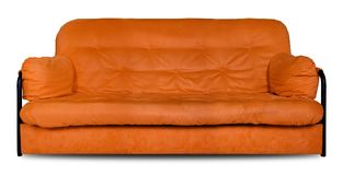 Upholstered furniture - the Orange modern divan sofa made of cloth. Isolated. Upholstered furniture - Orange modern made of cloth the sofa divan isolated on a royalty free stock photos