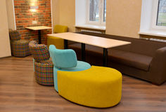 Upholstered modular furniture in office room.  royalty free stock photos