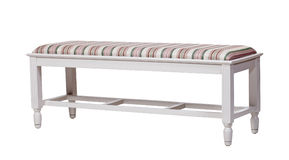 Upholstered wood bench isolated over white Royalty Free Stock Photography