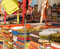 Upholstery. Full frame take of colorful upholstery at a street market stall Stock Photo