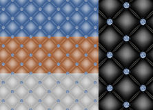 Upholstery backgrounds with diamond buttons Royalty Free Stock Photos