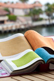 Upholstery fabric samples Royalty Free Stock Images