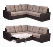 Upholstery sofa corner set with pillows isolated on white background with clipping path Stock Photo