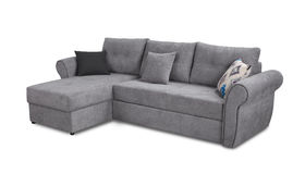 Upholstery sofa corner set with pillows isolated on white with clipping path Royalty Free Stock Image