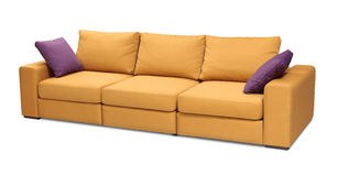 Upholstery sofa set with pillows isolated with clipping path Royalty Free Stock Photos