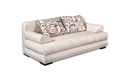 Upholstery sofa set with varies pattern pillows isolated on whit Stock Photo
