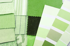 Upholstery tapestry color selection. Closeup tapestry and upholstery green color selection Stock Photo