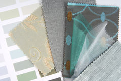 Upholstery  tapestry and curtain color selection. For interior Royalty Free Stock Photos